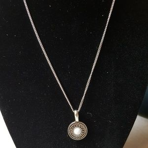 Silver Necklace with White Stone in Circle Pendant